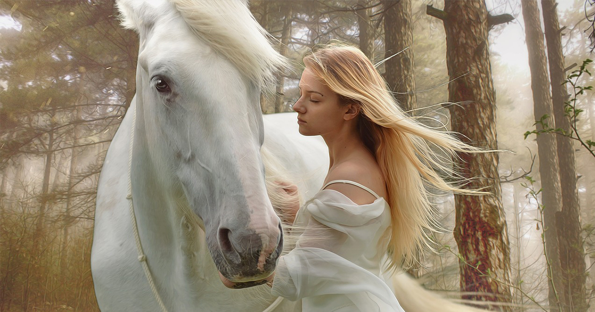 horse and a woman in lucid dreaming