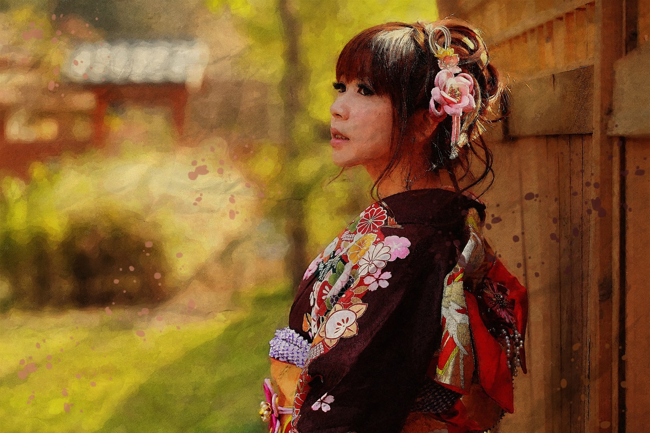 japanese woman in kimono in lucid dreaming