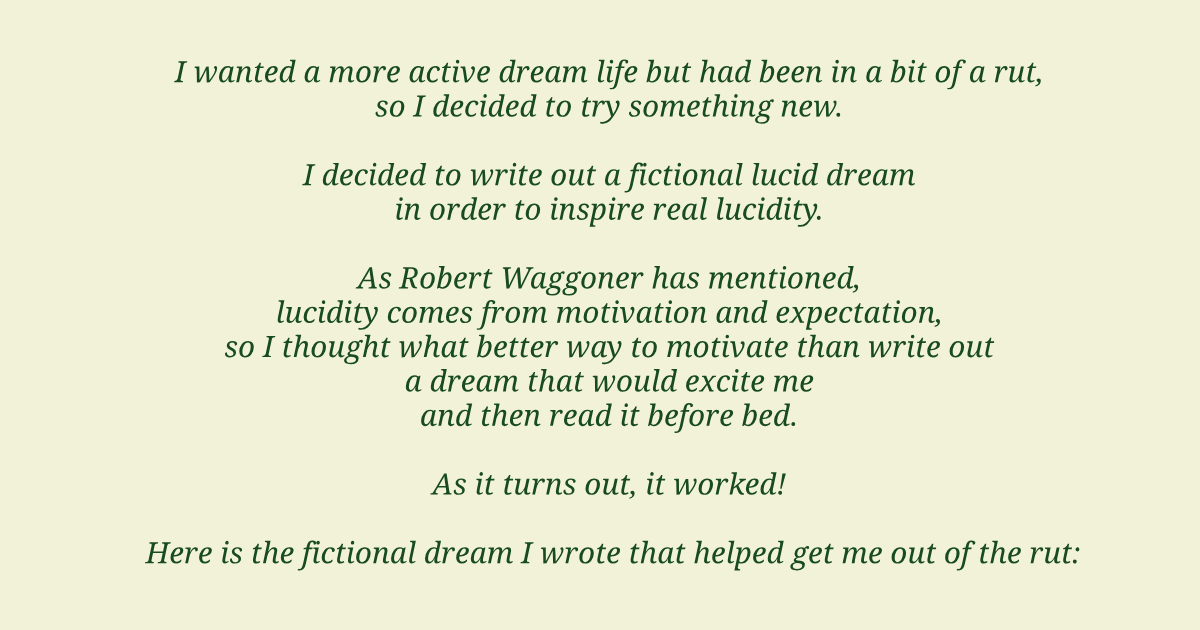 fictional dream in lucid dreaming