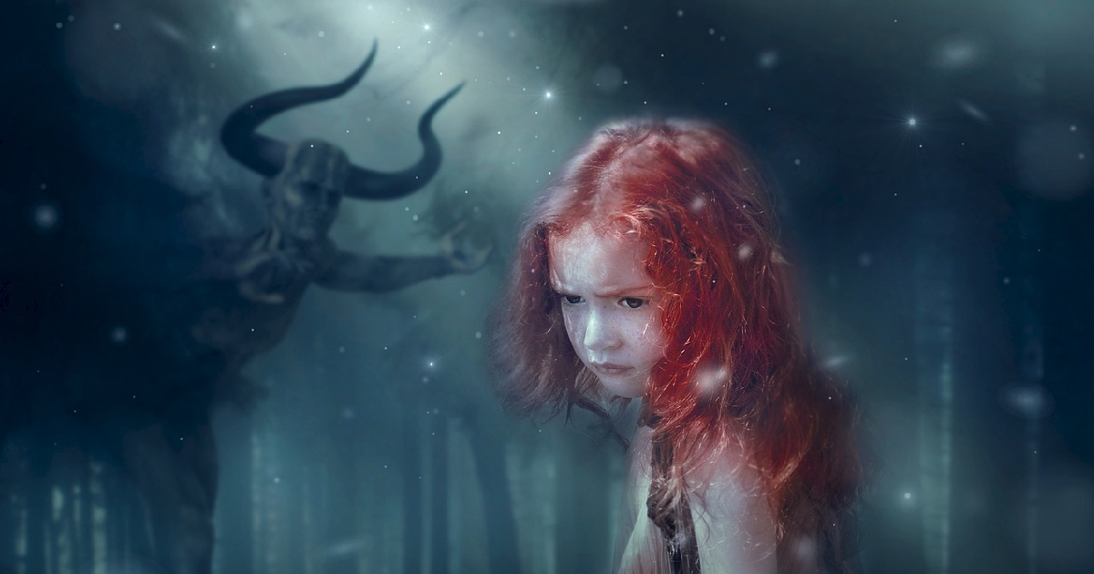 young girl and a monster in lucid dreaming